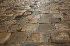 Molhe pedras de pavimentação após a chuva com as poças da água Imagens de Stock Royalty Free