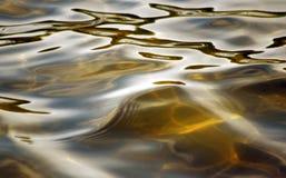 Molhe a superfície do lago com ondinhas macias do rolamento nas máscaras do ouro Imagens de Stock