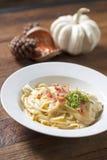 Molho branco dos espaguetes Imagens de Stock