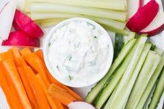 molho com queijo de feta e close-up sortido dos vegetais Foto de Stock