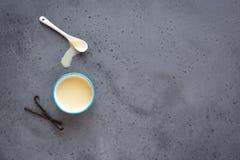 Molho da baunilha ou leite condensado imagem de stock royalty free