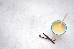 Molho da baunilha ou leite condensado imagem de stock