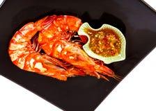 Molho de marisco cozinhado do whit do camarão Foto de Stock Royalty Free