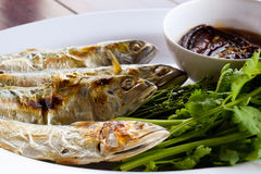 Molho de peixes, vegetais doces e folhas do neem Fotografia de Stock