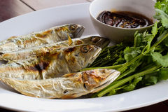Molho de peixes, vegetais doces e folhas do neem Imagens de Stock Royalty Free
