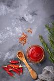 Molho de pimentão com pimentas secadas Imagem de Stock Royalty Free