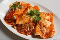 Molho de queijo da carne dos Enchiladas Imagem de Stock