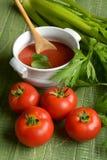 Molho de tomate com aipo na tabela de madeira verde Imagens de Stock Royalty Free