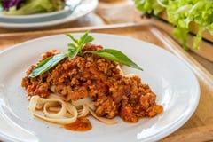 Molho de tomate da carne de porco da massa Fotografia de Stock Royalty Free