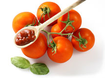 Molho de tomate da colher Fotografia de Stock