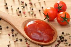 Molho de tomate em uma colher de madeira Fotografia de Stock Royalty Free