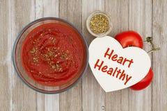 Molho de tomate na bacia clara com a especiaria dos oréganos e a videira vermelha maduras Imagens de Stock