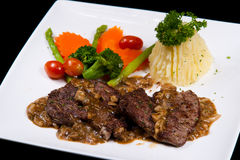 Molho do cogumelo do bife da carne Imagem de Stock Royalty Free