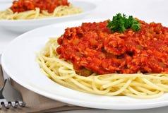 Molho dos espaguetes e da carne Imagens de Stock