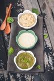 Molho dos mergulhos com molho do rancho, Mayo Sauce, Basil Sauce imagens de stock