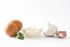 Molho e ingredientes de Aioli Foto de Stock Royalty Free
