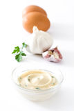 Molho e ingredientes de Aioli Fotografia de Stock Royalty Free