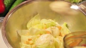 Molho e pão torrado do cozinheiro em uma salada vídeos de arquivo