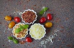 Molho picante com queijo e paprika em uns pires da porcelana fotos de stock royalty free