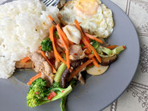 Molho sauteed da ostra dos legumes misturados n com arroz e ovo frito na placa branca Alimento tailandês - fritada #6 do Stir imagens de stock