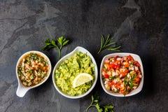 Molhos latino-americanos - Guacamole, salsa do tomate, molho de pimentão Pebre Fotografia de Stock