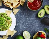 Molhos mexicanos tradicionais guacamole e salsa com ingredientes frescos fotos de stock