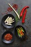 Molió las pimientas de chile secadas con pimientas, hierba de limón y cebolletas frescas Imagen de archivo libre de regalías