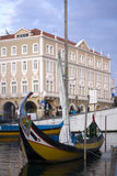 Moliceiro boat into aveiro city Stock Image
