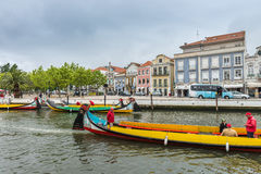 Moliceiro boat sail along the canal in Aveiro, Portugal stock photo