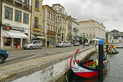 The Moliceiro boat voyage along the canal of Aveiro City, Portugal Royalty Free Stock Images