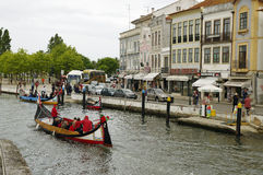 The Moliceiro boat voyage along the canal of Aveiro, Portugal Royalty Free Stock Photography