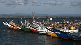 Moliceiros boats , Torreira , Portugal Royalty Free Stock Photo