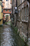 Moline canal with old historical italian buildings in Bologna Stock Photography