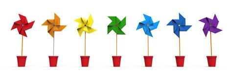 Molinillo de viento coloreado stock de ilustración