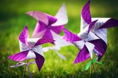 Molinillo de viento púrpura en una hierba verde Foto de archivo
