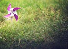 Molinillo de viento púrpura y blanco en la hierba Fotos de archivo