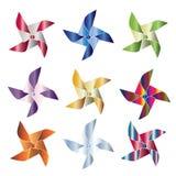 Molinillos de viento brillantes Imágenes de archivo libres de regalías