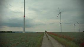 Molinillos de viento de la tecnología del parque del viento en un paisaje del campo de maíz de la agricultura con el cielo nublad almacen de metraje de vídeo