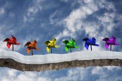 Molinillos de viento y cielo fotografía de archivo libre de regalías