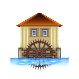Molino de agua viejo en el vector blanco ilustración del vector
