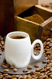 Molino de café con los granos de café Imagenes de archivo