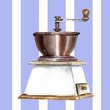 Molino de café en un fondo rayado Fotos de archivo libres de regalías