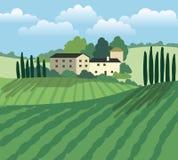 Molino de viento, casas del pueblo y tierras de labrantío Bosquejo del vector ilustración del vector