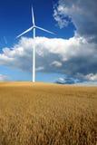 Molino de viento con el campo de la cebada Foto de archivo libre de regalías