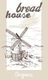 Molino de viento con los campos de trigo stock de ilustración