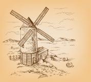Molino de viento con los campos de trigo libre illustration