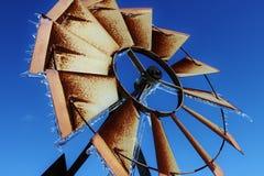 Molino de viento congelado Fotografía de archivo libre de regalías