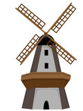 Molino de viento de madera aislado con la puerta y las ventanas Imagen de archivo