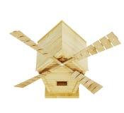 Molino de viento de madera en el fondo blanco 3d rinden los cilindros de image Foto de archivo