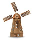 Molino de viento de madera viejo ilustración del vector